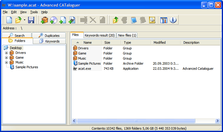 Software for cataloguing on all kinds of media with search, file monitoring etc.